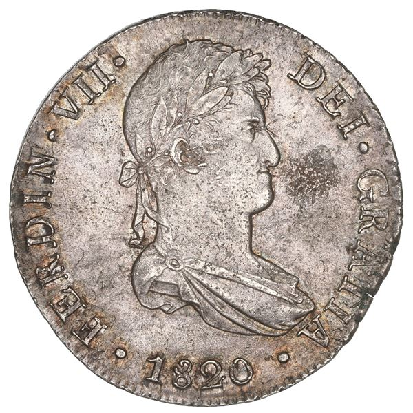 Lima, Peru, bust 8 reales, Ferdinand VII, 1820 JP, NGC MS 62.