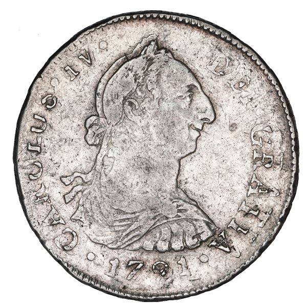 Lima, Peru, bust 4 reales, Charles IV transitional (bust of Charles III, ordinal IV), 1791 IJ, doubl