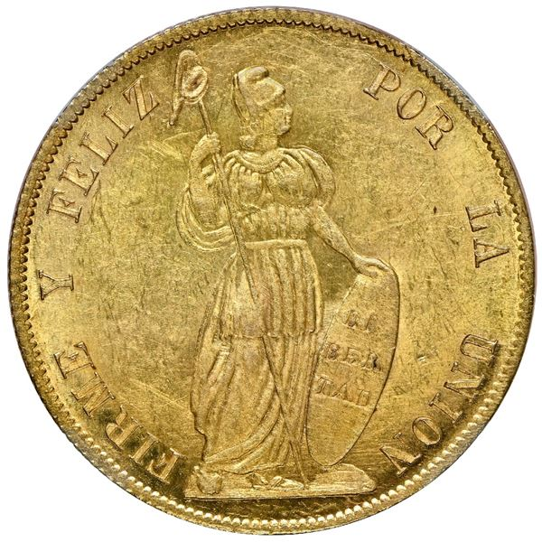 Lima, Peru, gold 4 escudos, 1853 MB, NGC MS 63, finest and only example in NGC census, ex-Lissner.