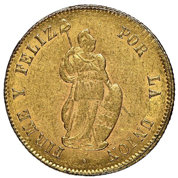Lima, Peru, gold 2 escudos, 1853 MB, NGC AU 55.