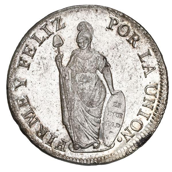 Lima, Peru, 8 reales, 1828 JM, large Liberty, NGC MS 62.