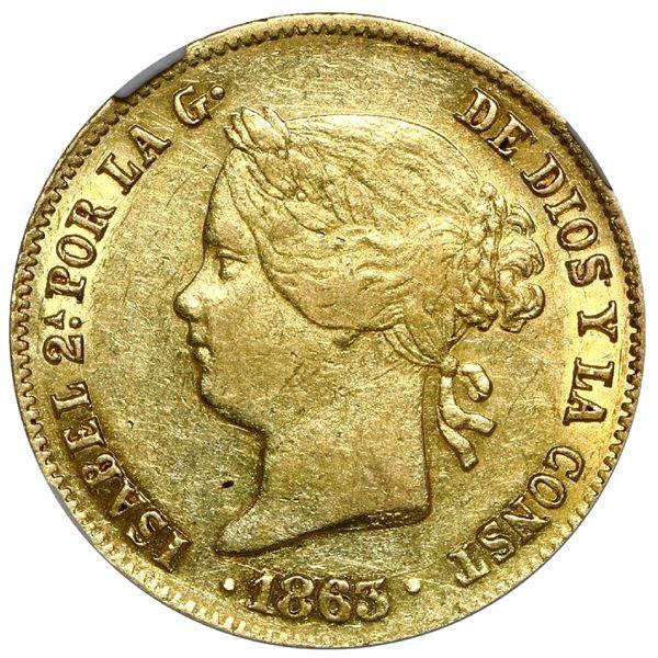 Philippines (under Spain), gold 2 pesos, Isabel II, 1863, NGC AU 55.