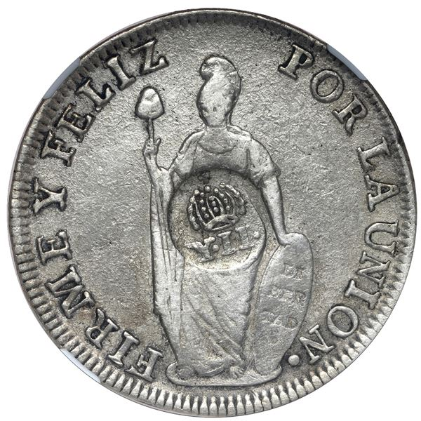 Philippines (under Spain), 8 reales, Isabel II, crowned-Y.II countermark (1834-37) on a Lima, Peru,
