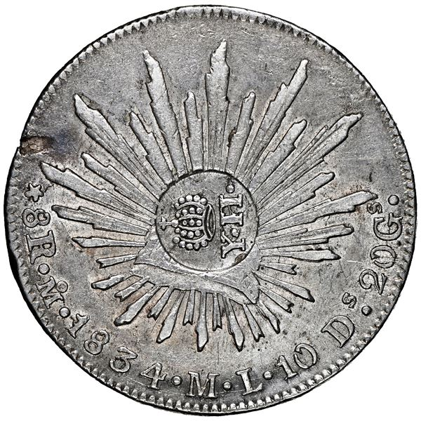 Philippines (under Spain), 8 reales, crowned-Y.II countermark (1834-37) on a Mexico City, Mexico, ca