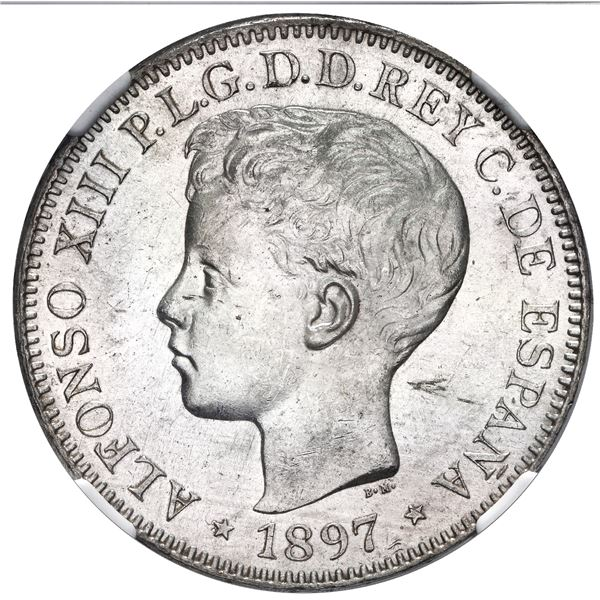 Philippines (under Spain), silver 1 peso, Alfonso XIII (young head), 1897 S-GV, NGC MS 62+.