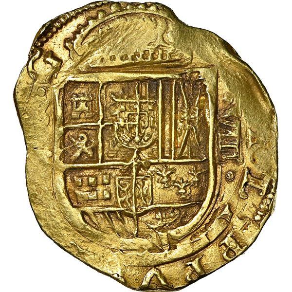 Seville, Spain, cob 8 escudos, Philip IV, assayer R, distinctive Austrian fesse in shield (1634-37),