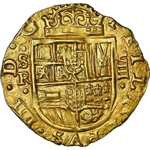 Seville, Spain, gold cob 8 escudos, Philip IV, 1644 R, NGC MS 63, finest and only example in NGC cen