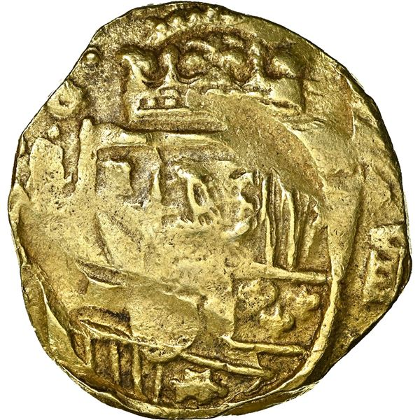 Seville, Spain, gold cob 8 escudos, Philip IV, 1663 (R ), NGC AU 55, finest and only example in NGC