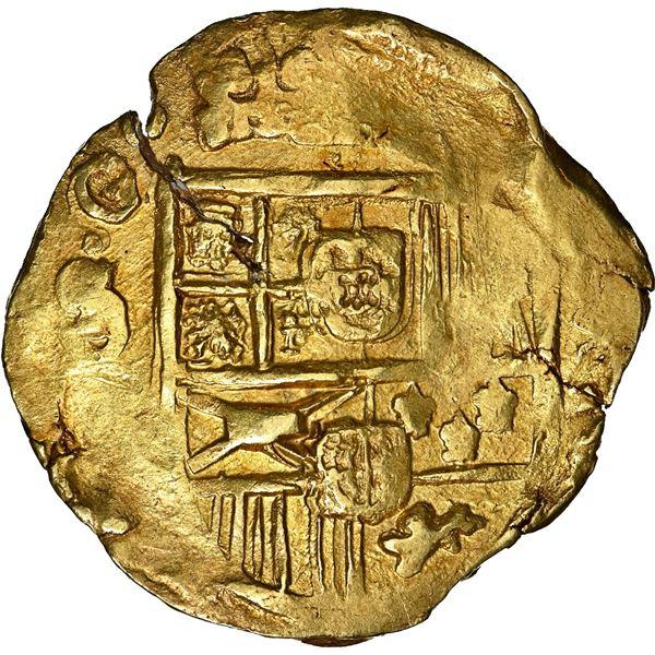 """Seville, Spain, gold cob 8 escudos, Charles II, 1698/7 M, NGC MS 63 (""""top pop""""), ex-J.O.B., Calico O"""