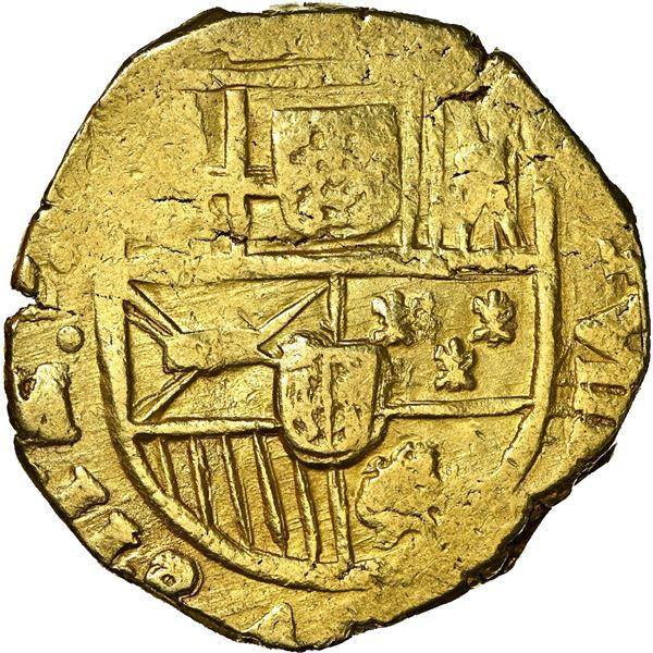 "Seville, Spain, gold cob 8 escudos, Charles II, 1698/7 (M), NGC MS 63 (""top pop""), ex-J.O.B., ex-Cab"