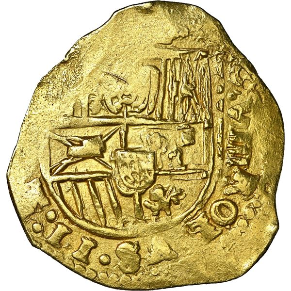 Seville, Spain, gold cob 8 escudos, Charles II, 1699 (M), NGC MS 63, finest known in NGC census, ex-