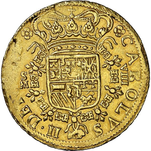 Seville, Spain, gold milled 8 escudos, Charles II, 1699 M, GRAT variety, NGC AU 58, ex-J.O.B., Calic