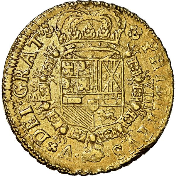 Seville, Spain, gold milled 8 escudos, Philip V, f1701 M, denomination VIII to right, dots flanking