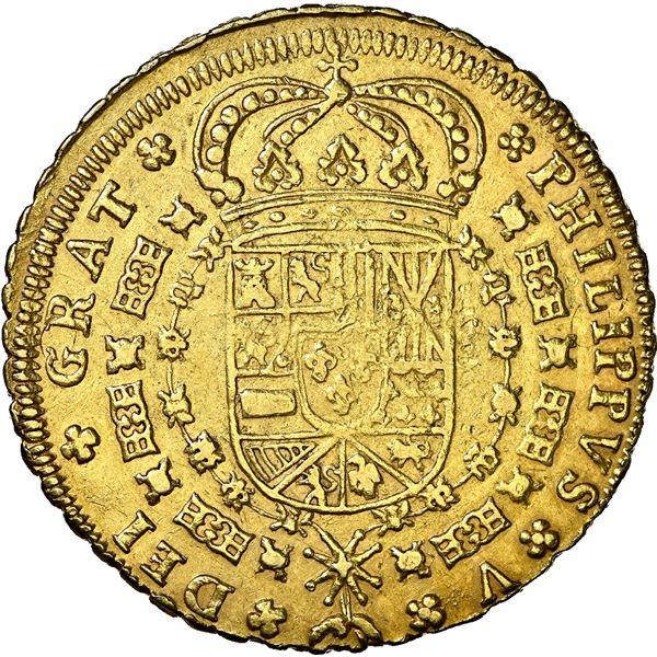 Seville, Spain, gold milled 8 escudos, Philip V, 1701 M, 8-S-8-M outside tressure, flowers flanking