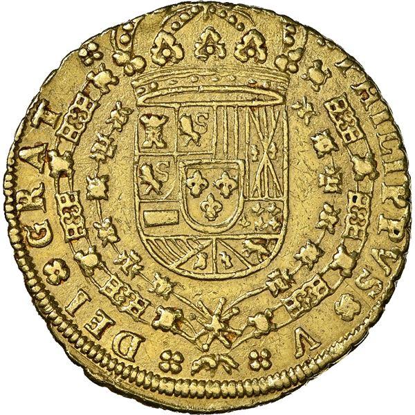 Seville, Spain, gold milled 8 escudos, Philip V, 1703 J, 8-S-8-J outside tressure, NGC AU 55, finest