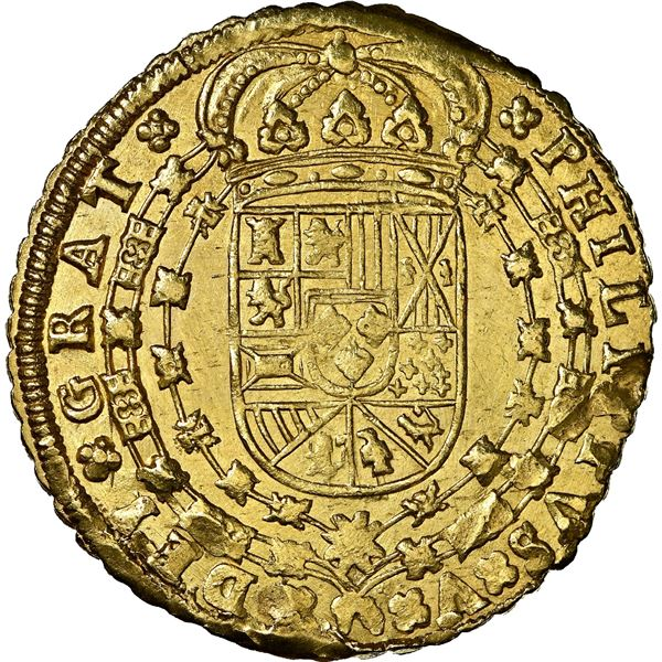 Seville, Spain, gold milled 8 escudos, Philip V, 1712 M, 8-S-8-M outside tressure, NGC MS 62, ex-J.O