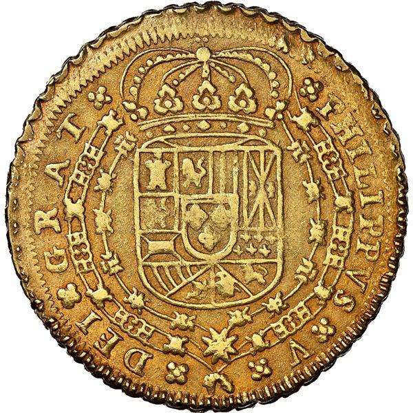 Seville, Spain, gold milled 8 escudos, Philip V, 1712 M, M-8-S-8 outside tressure, NGC AU 58, ex-J.O