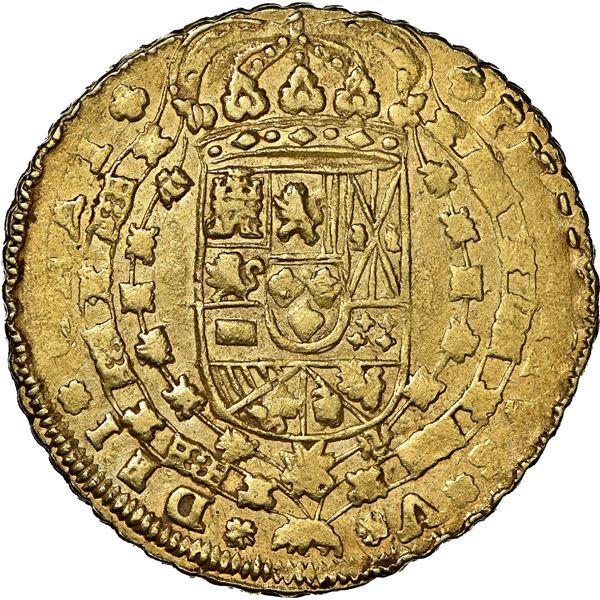 Seville, Spain, gold milled 8 escudos, Philip V, 1717 M, NGC AU 55, ex-J.O.B.