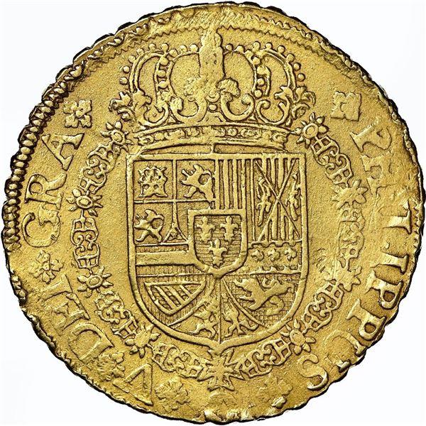 Seville, Spain, gold milled 8 escudos, Philip V, 1721 J, NGC AU details / cleaned, ex-J.O.B.