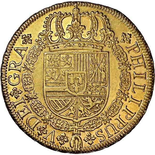 Seville, Spain, gold milled 8 escudos, Philip V, 1729 P, NGC MS 61, ex-J.O.B.