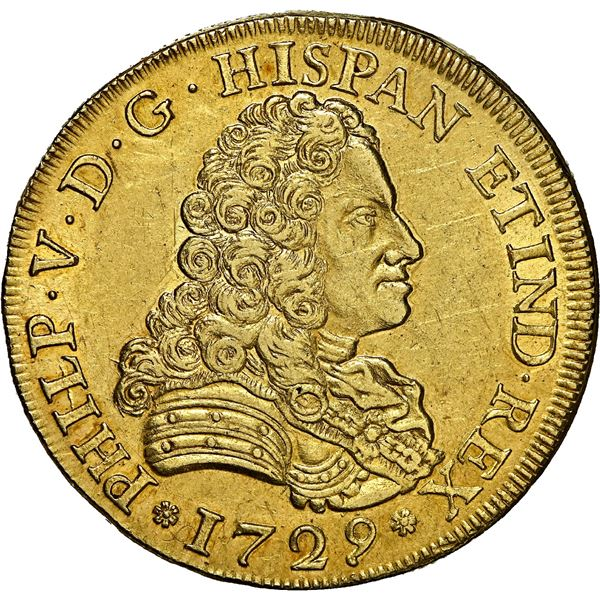 Seville, Spain, gold bust 8 escudos, Philip V, 1729, no assayer or denomination, king's name as PHIL