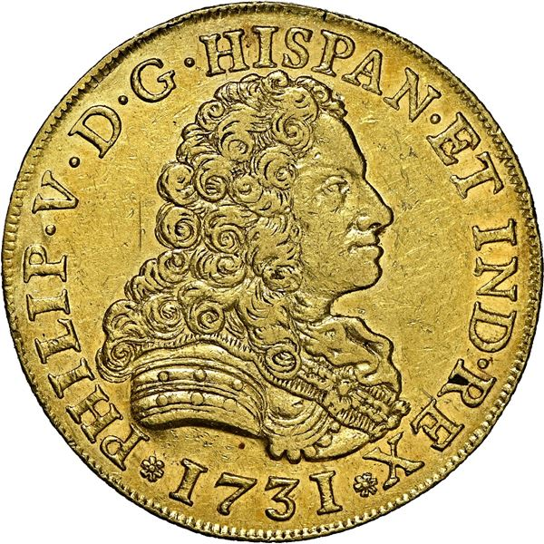 Seville, Spain, gold bust 8 escudos, Philip V, 1731 PA, rare, NGC AU 53, finest and only example in
