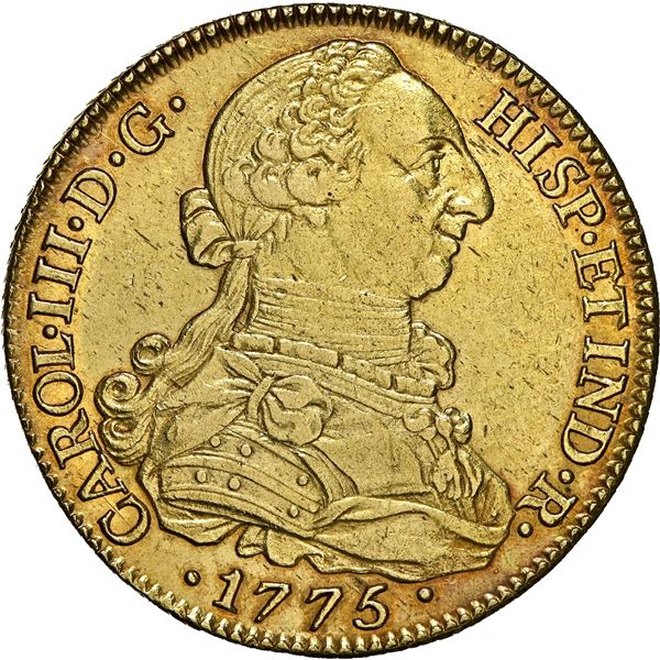 Seville, Spain, gold bust 8 escudos, Charles III, 1775 CF, NGC UNC details / cleaned, ex-J.O.B.