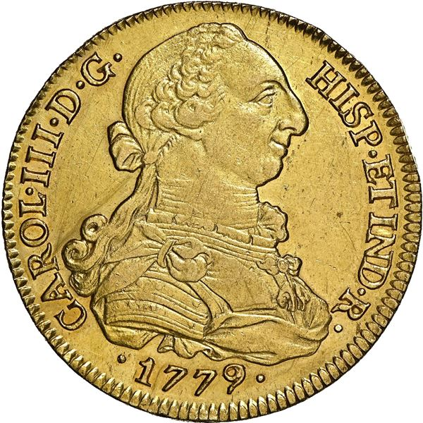Seville, Spain, gold bust 8 escudos, Charles III, 1779/7 CF, NGC AU details / scratched, ex-J.O.B.