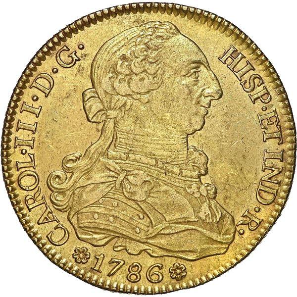 Seville, Spain, gold bust 8 escudos, Charles III, 1786 C, NGC AU 58, ex-J.O.B.