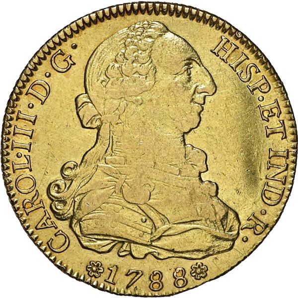Seville, Spain, gold bust 8 escudos, Charles III, 1788 C, dot after R, NGC VF 35, ex-J.O.B. (stated