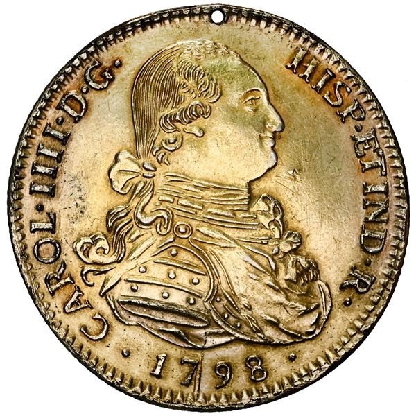 Seville, Spain, gold bust 8 escudos, Charles IV, 1798 JN, contemporary counterfeit made in gilt plat