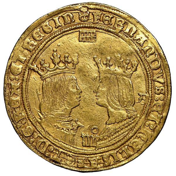 Segovia, Spain, gold 4 excelentes, Ferdinand-Isabel, mintmark at top, denomination o-iiii at bottom