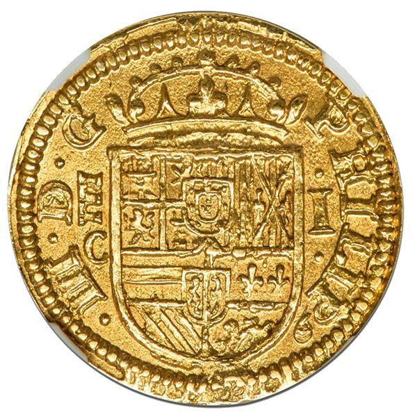 "Segovia, Spain, gold milled 1 escudo, Philip III, 1607 C, NGC MS 66 (""top pop"")."