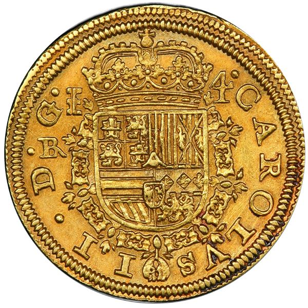Segovia, Spain, gold milled 4 escudos, Charles II, 1687/3 BR, very rare.