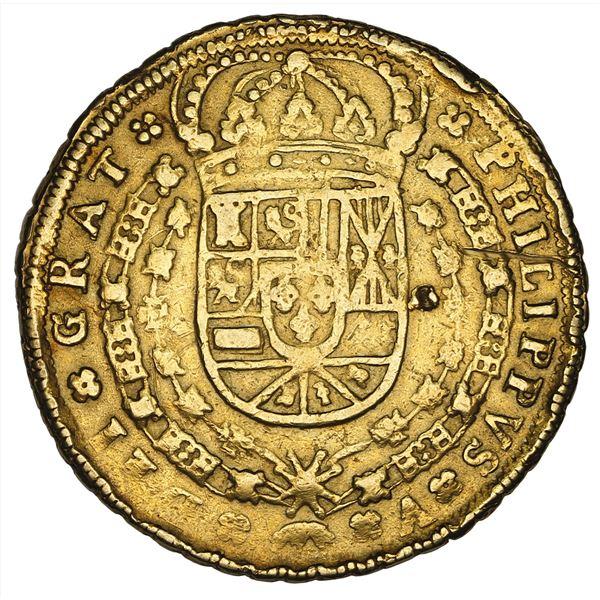Seville, Spain, gold milled 8 escudos, Philip V, 1704 P, NGC VF details / obverse damage.
