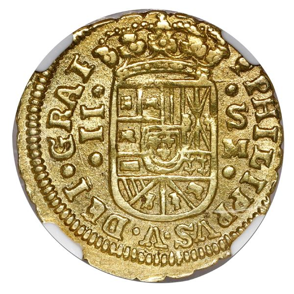 Seville, Spain, gold milled 2 escudos, Philip V, 1717 M, NGC AU 58, finest and only example in NGC c