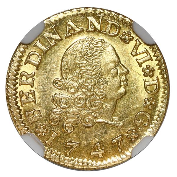 Seville, Spain, gold bust 1/2 escudo, Ferdinand VI (second bust), 1747 PJ, NGC MS 63, finest known i