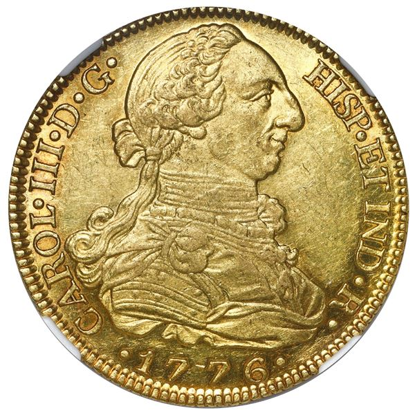 Madrid, Spain, gold bust 8 escudos, Charles III, 1776 PJ, NGC AU 58, finest and only example in NGC