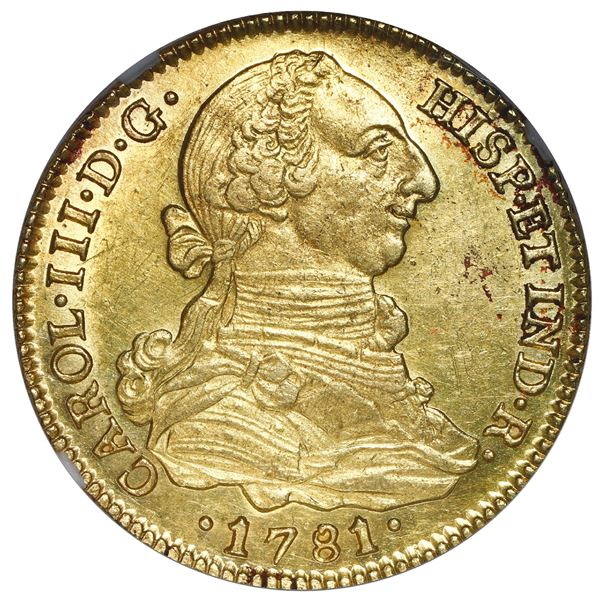 Seville, Spain, gold bust 4 escudos, Charles III, 1781 CF, NGC AU 58, finest known in NGC census.