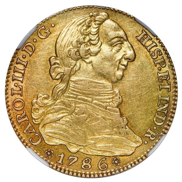 Madrid, Spain, gold bust 4 escudos, Charles III, 1786 DV, NGC AU 58.