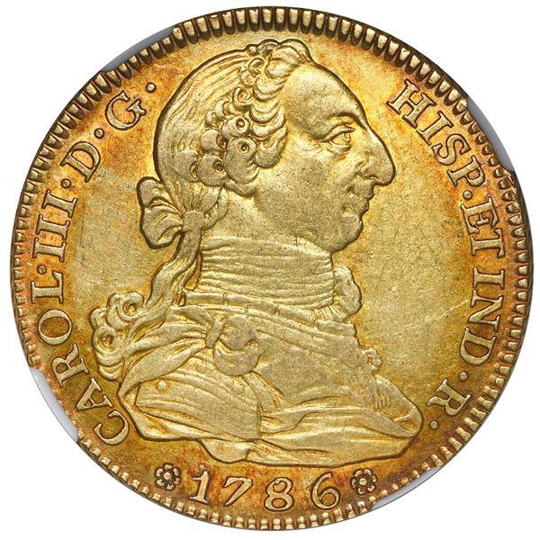 Madrid, Spain, gold bust 4 escudos, Charles III, 1786 DV, NGC AU 55.