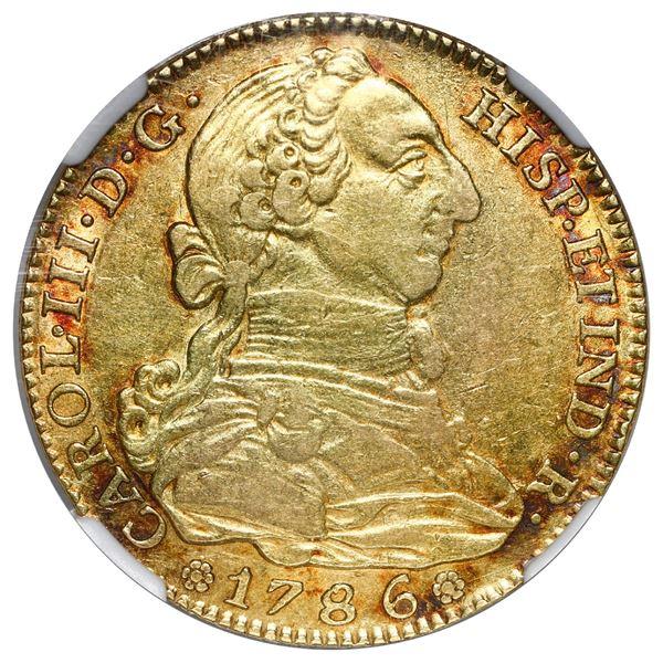Madrid, Spain, gold bust 4 escudos, Charles III, 1786 DV, NGC AU 50.