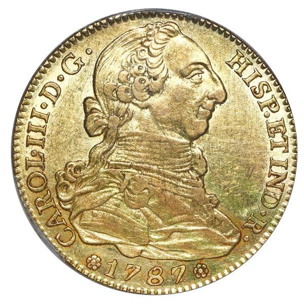 Madrid, Spain, gold bust 4 escudos, Charles III, 1787 DV, PCGS AU 58.