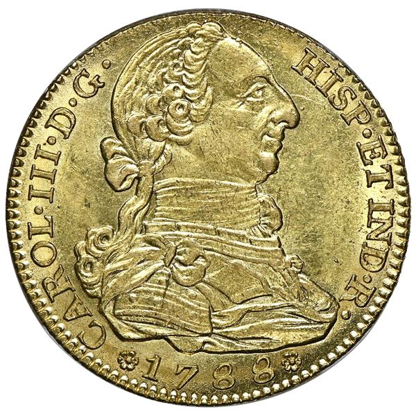 """Madrid, Spain, gold bust 4 escudos, Charles III, 1788 M, NGC MS 64 (""""top pop"""")."""