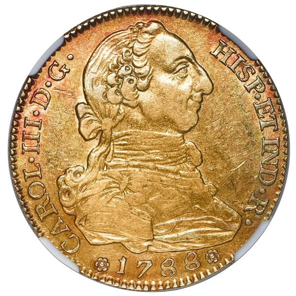 Madrid, Spain, gold bust 4 escudos, Charles III, 1788 M, NGC AU 55.