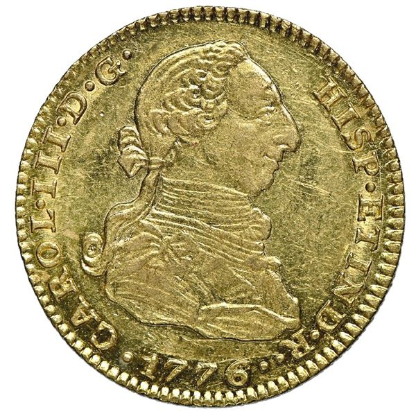 "Madrid, Spain, gold bust 2 escudos, Charles III, 1776/4 PJ, NGC AU 58 (""top pop"")."