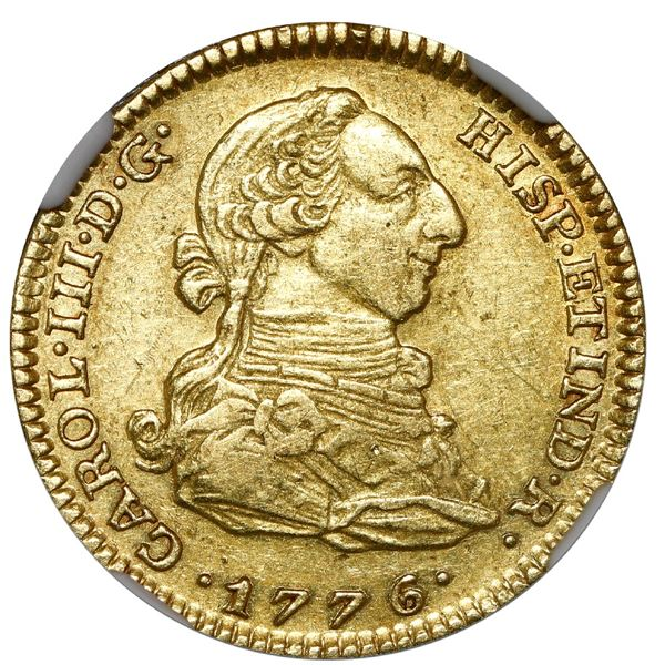 Madrid, Spain, gold bust 2 escudos, Charles III, 1776/5 PJ, NGC AU 53, finest and only example in NG