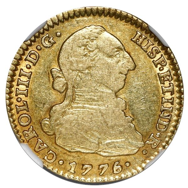 Seville, Spain, gold bust 2 escudos, Charles III, 1776/5 CF, NGC VF 35.