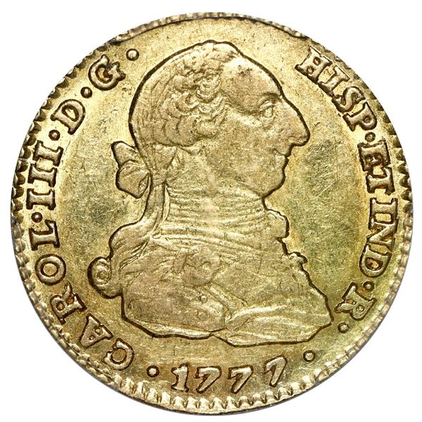 Seville, Spain, gold bust 2 escudos, Charles III, 1777/6 CF, PCGS AU 53, finest and only example in