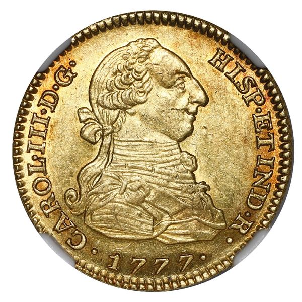 Madrid, Spain, gold bust 2 escudos, Charles III, 1777 PJ, NGC MS 61, finest known in NGC census.
